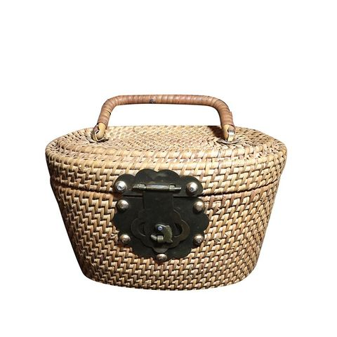 Brass and Weave Basket Style Purse