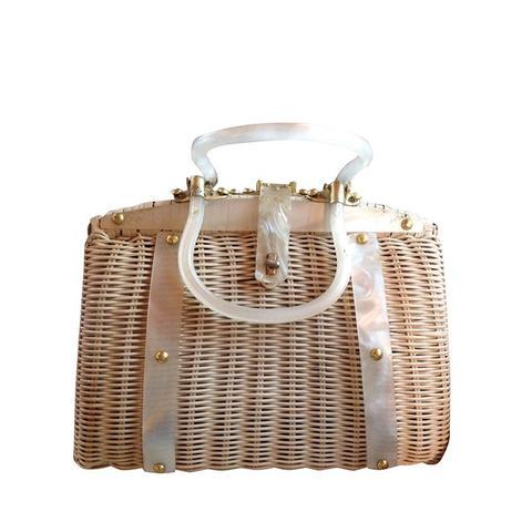 Lucite Trim Wicker Handbag