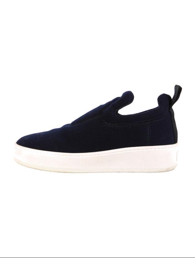 Céline Pull On Sneakers in Navy Wool