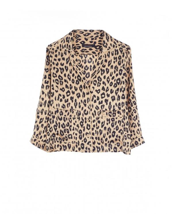 Kate Moss for Equipment Lake Leopard-Print Washed-Silk Pajama Shirt