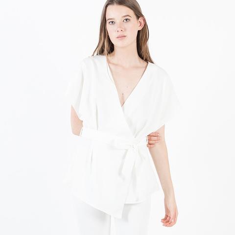 Akiko Tie-Waist Wrap Blouse