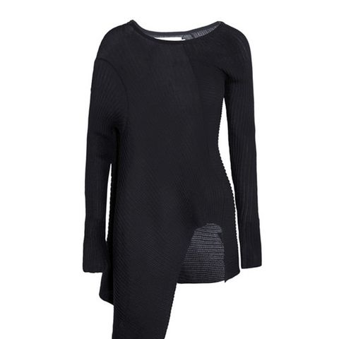 Asymmetric Ribber Cotton-Blend Sweater