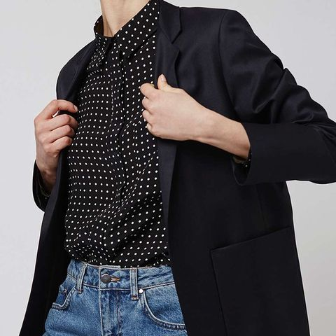 Topshop Navy Relaxed Suit Blazer