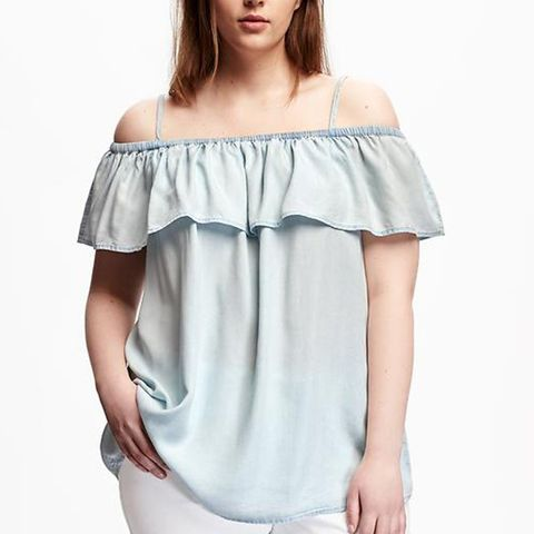Ruffled Off-Shoulder Plus-Size Swing Top