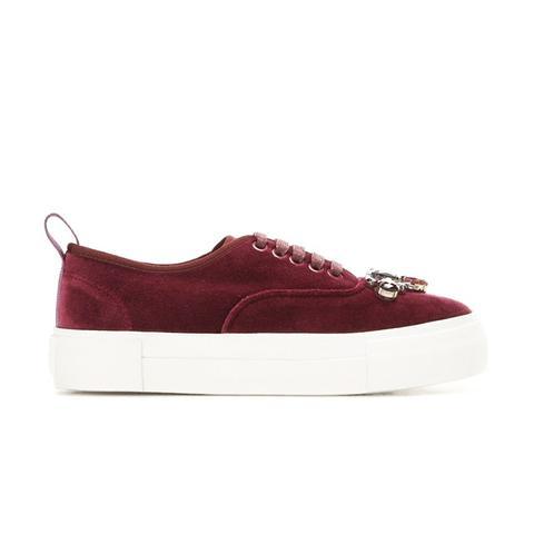 Embellished Velvet Sneakers