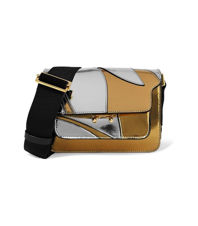 Marni Trunk Mini Metallic Leather Shoulder Bag