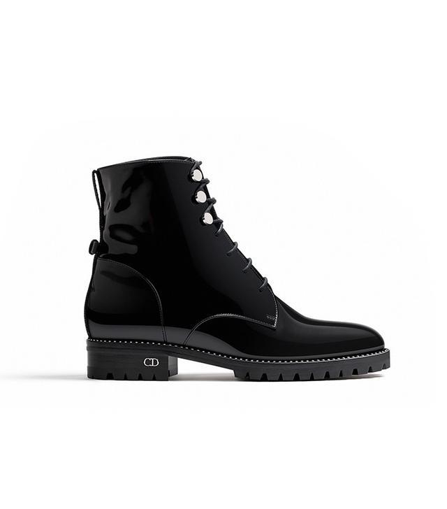 Dior Black Glazed Calfskin Ankle Boot