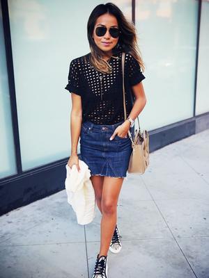 How to Wear a Denim Miniskirt Like an Adult