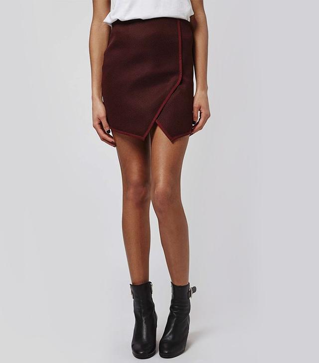 Topshop Angled Wrap Airtex Mini Skirt
