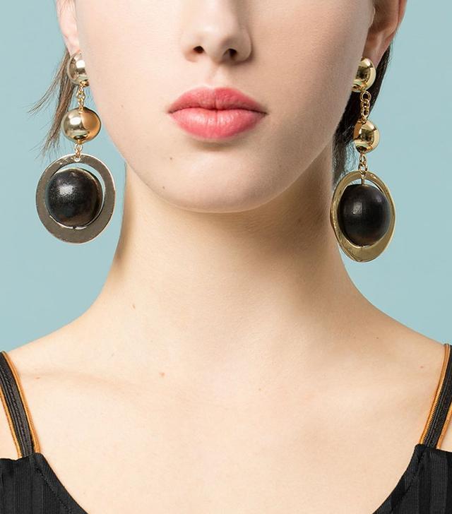 Uterqüe Wooden Piece Earrings