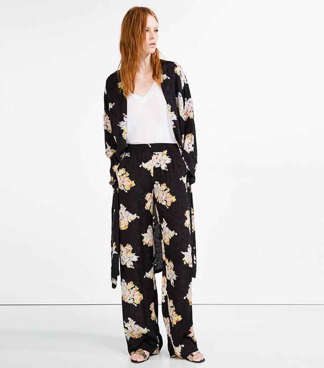 Zara Jacquard Pajama Style Trousers