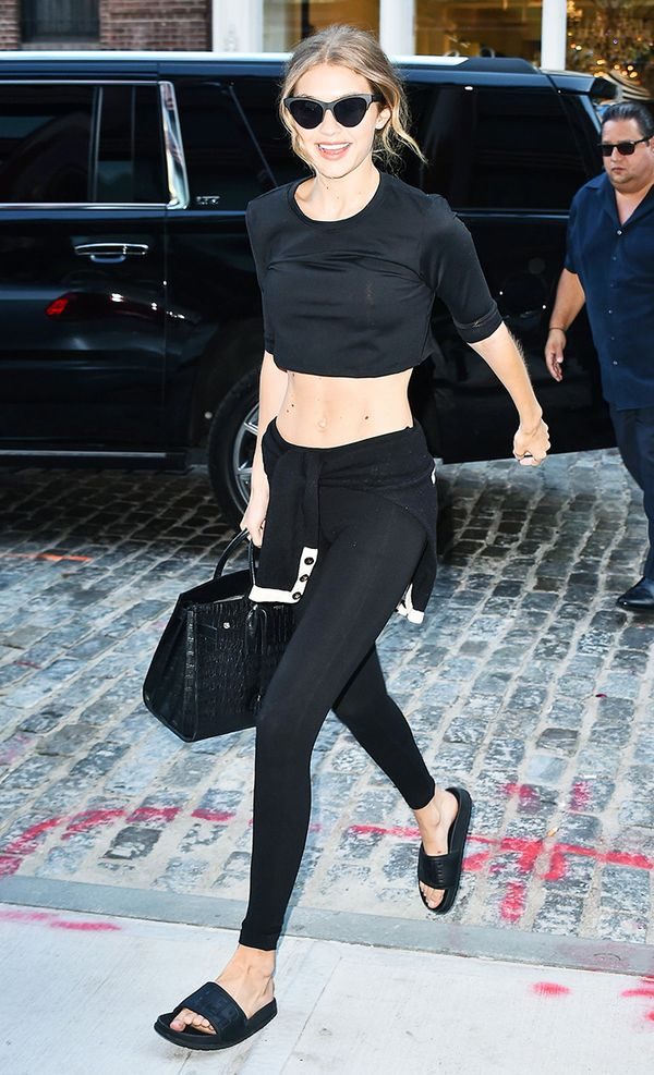 Crop top outfits: Gigi Hadid