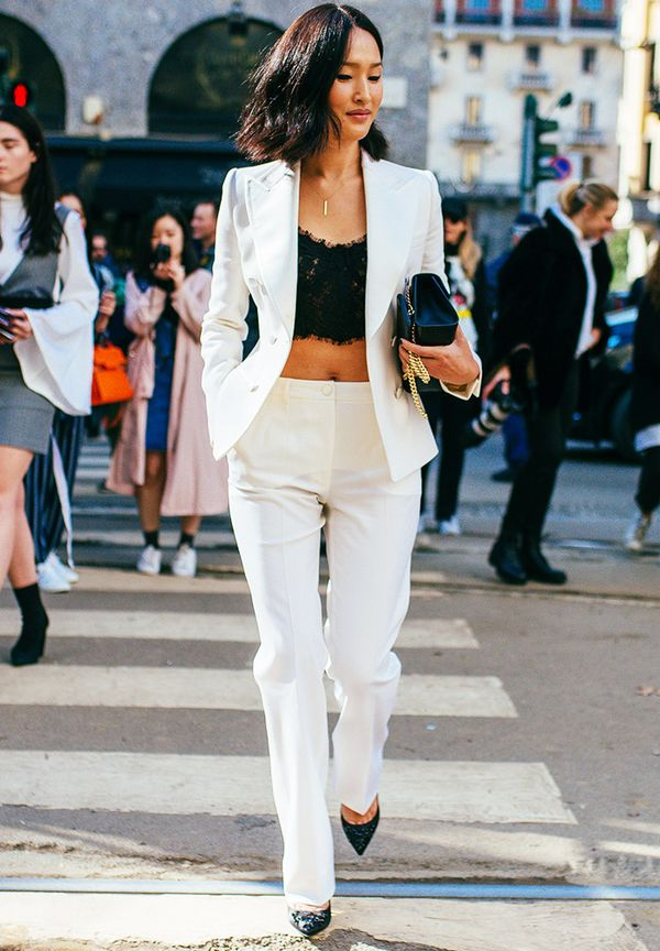 Crop top outfits: White suit and lace top