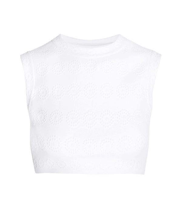 Crop top outfits: Alaia Cropped Stretch Jacquard-Knit Top