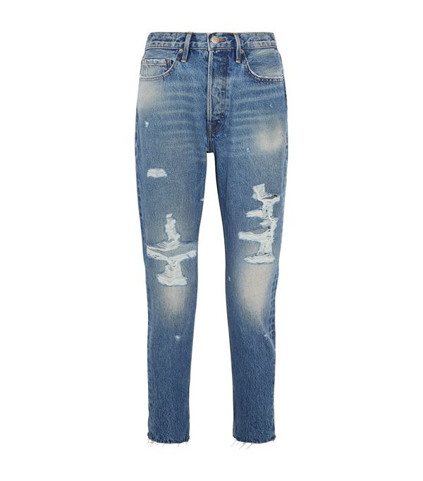 Crop top outfits: Frame Rigid Re-Release Le Original Skinny Distressed High-Rise Jeans