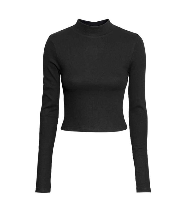 Crop top outfits: H&M Short Polo-Neck Top