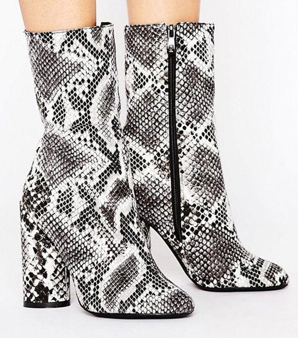 Crop top outfits: Public Desire Elsa Snake Print Heeled Ankle Boots