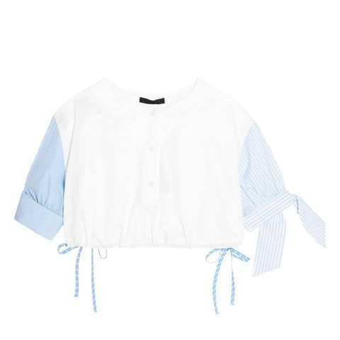Cropped Striped Cotton-Poplin Top
