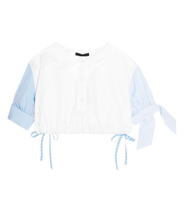 Crop top outfits: Alexander Wang Cropped Striped Cotton-Poplin Top