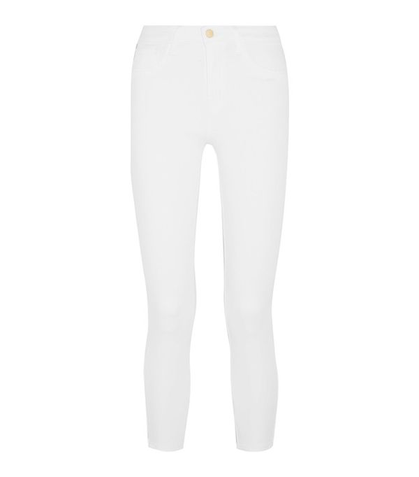 Crop top outfits: L'Agence Andrea High-Rise Skinny Jeans