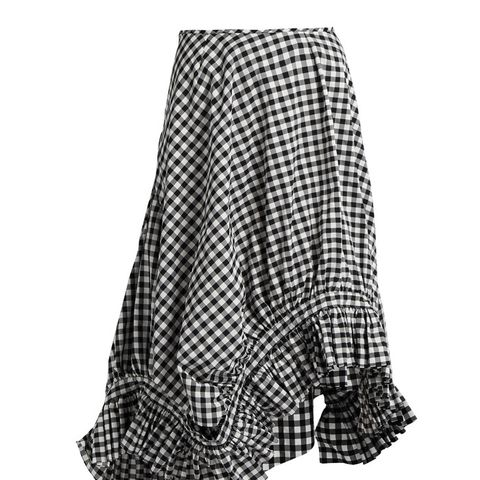 Ruffle-Trim Gingham Midi Skirt