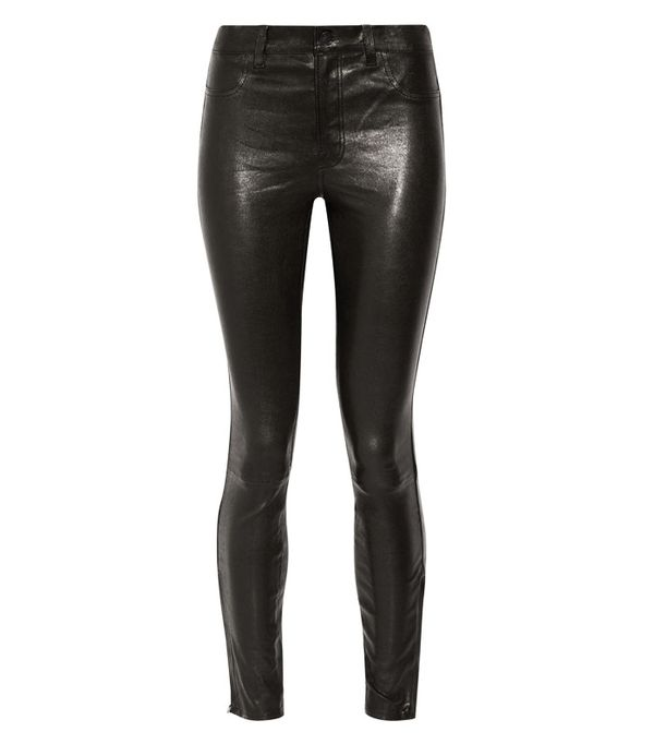 Crop top outfits: J Brand 8001 Leather Skinny Pants