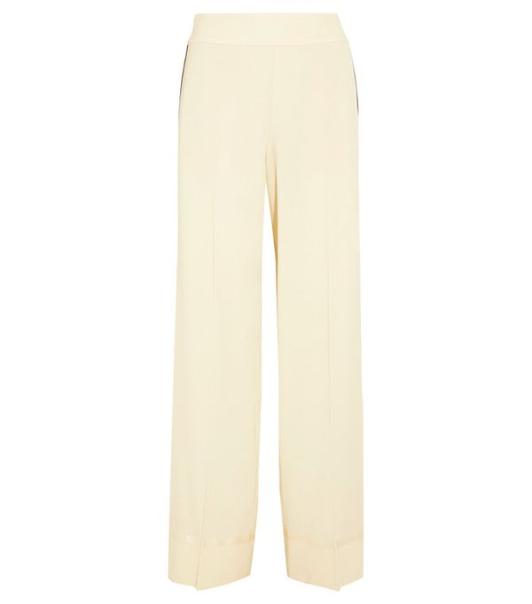 Crop top outfits: Maison Margiela Grosgrain-Trimmed Wool-Blend Pants