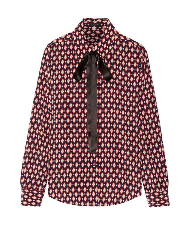Marc Jacobs Pussy-Bow Printed Silk Crepe de Chine Shirt