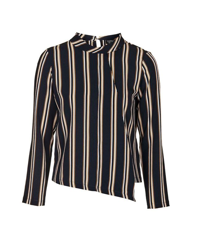 Topshop Striped Fold Roll Neck Blouse