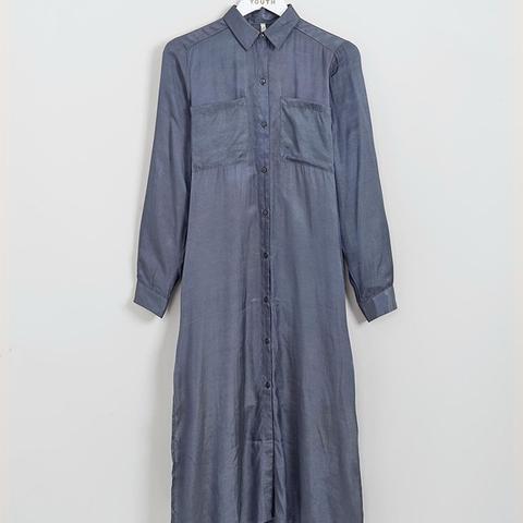 Satin Touch Maxi Shirt Dress