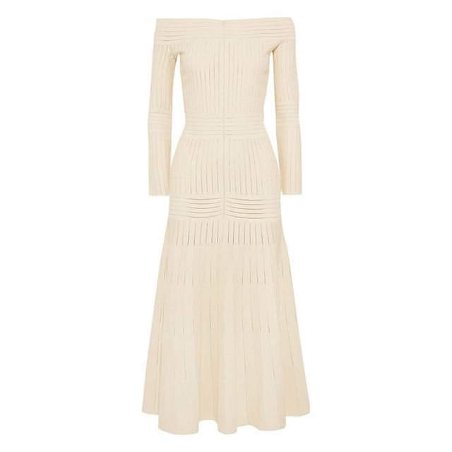 Barbara Casasola Off-the-Shoulder Mesh-Paneled Stretch-Jersey Dress