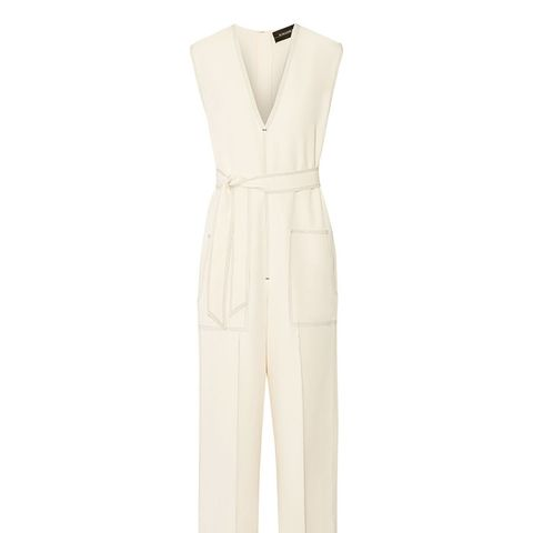 Avilla Embroidered Stretch-Crepe Jumpsuit
