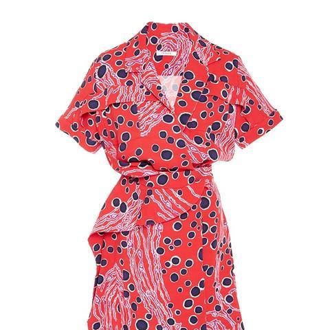 Red Printed Crepe Wrap Dress