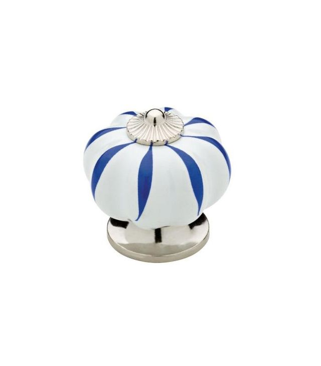 Liberty White with Blue Stripes Ceramic Melon Cabinet Knob