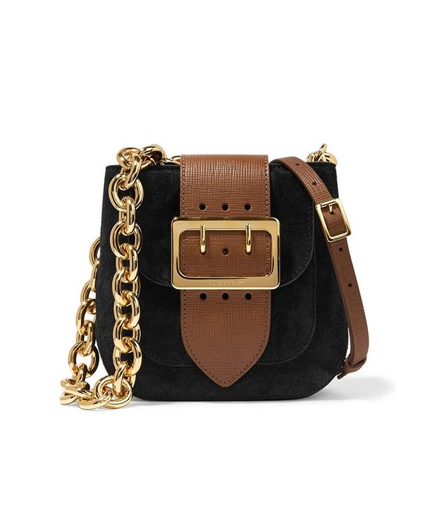 Burberry Prorsum Buckle-Embellished Suede and Textured Leather Shoulder Bag