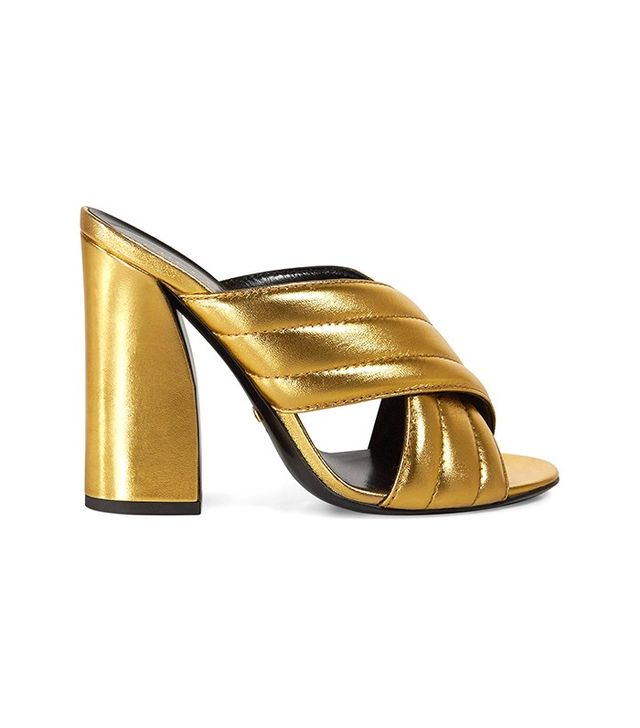 Gucci Metallic Crossover Sandals