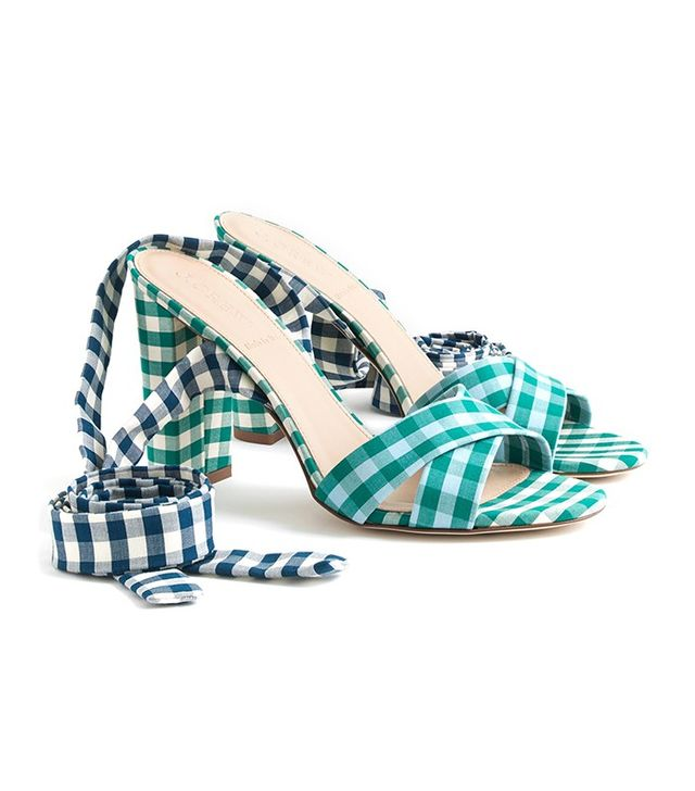 J.Crew Mixed Gingham Sandals With Ankle Wrap