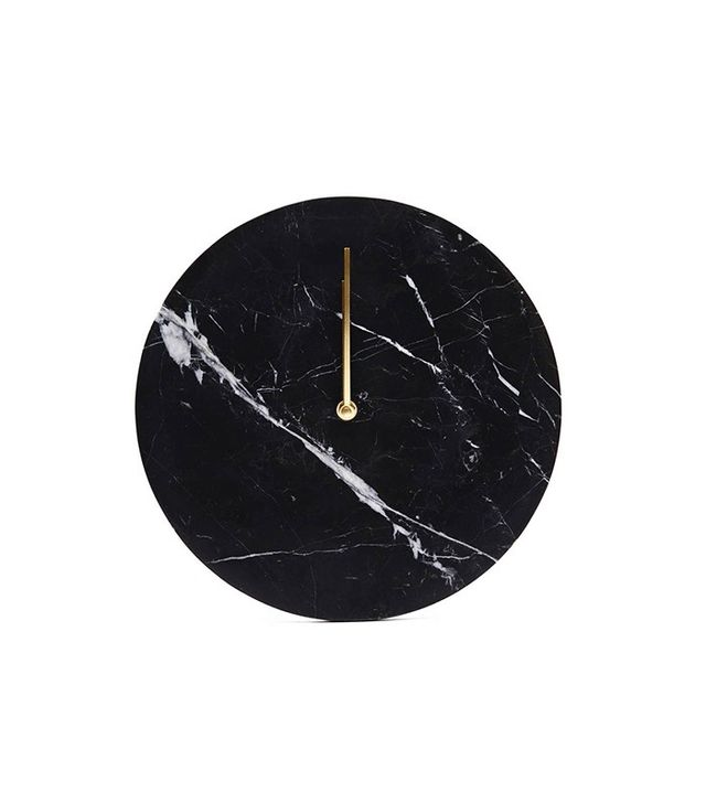 Menu Black Marble Wal Clock With Brass Hands