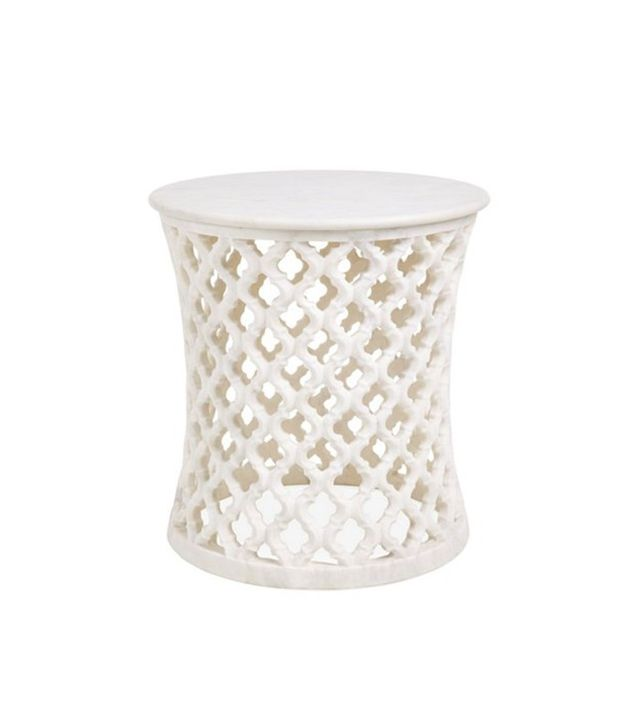 Global Views Arabesque Marble Carved Side Table