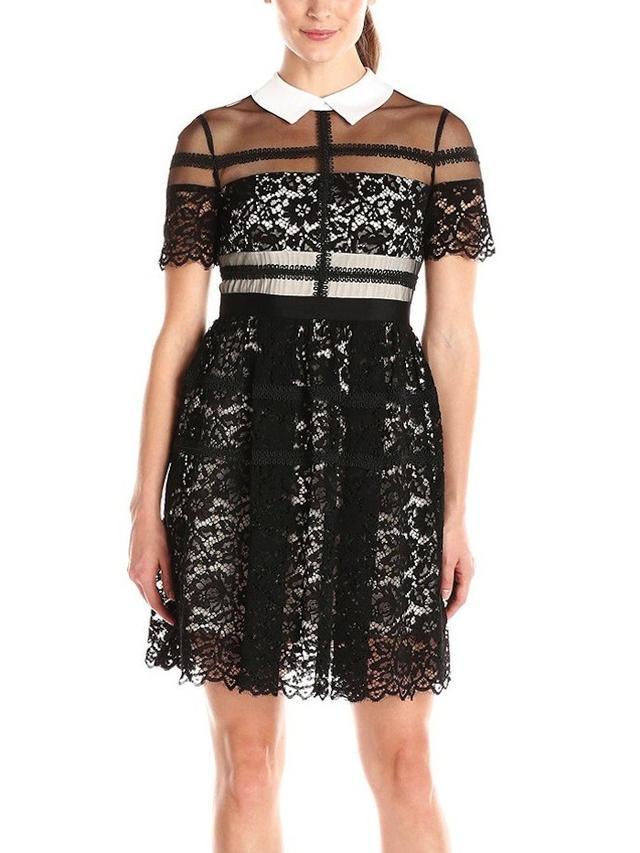 Donna Morgan Short-Sleeve Lace Shirt Dress