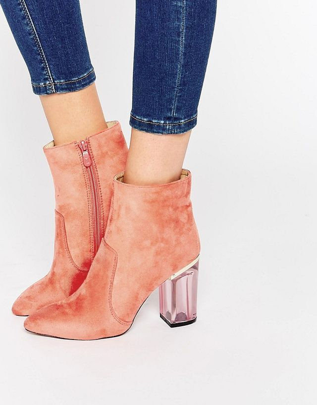 Public Desire Cate Pink Clear Heel Ankle Boots
