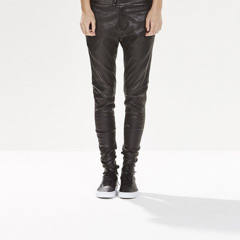 Flat Front Leather Pant
