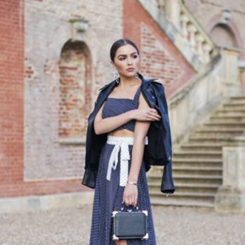 Olivia Culpo fashion style: Alexis Corinna Skirt and tank and an Aspinal of London The Mini Trunk Clutch