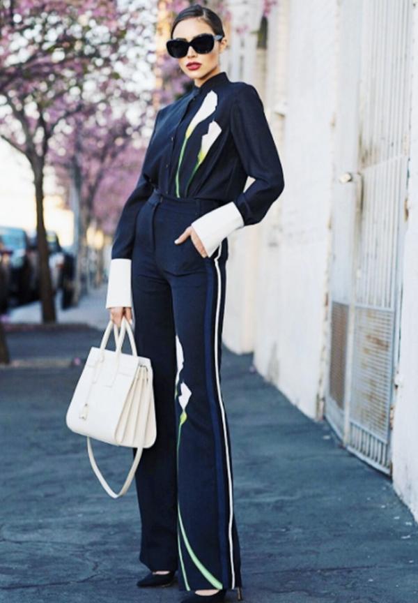 Olivia Culpo fashion style: Victoria Beckham x Target shirt and trousers, Saint Laurent Sac de Jour