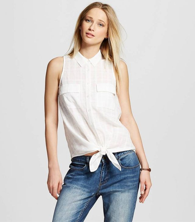 Who What Wear Sleeveless Tie Front Button-Up Top