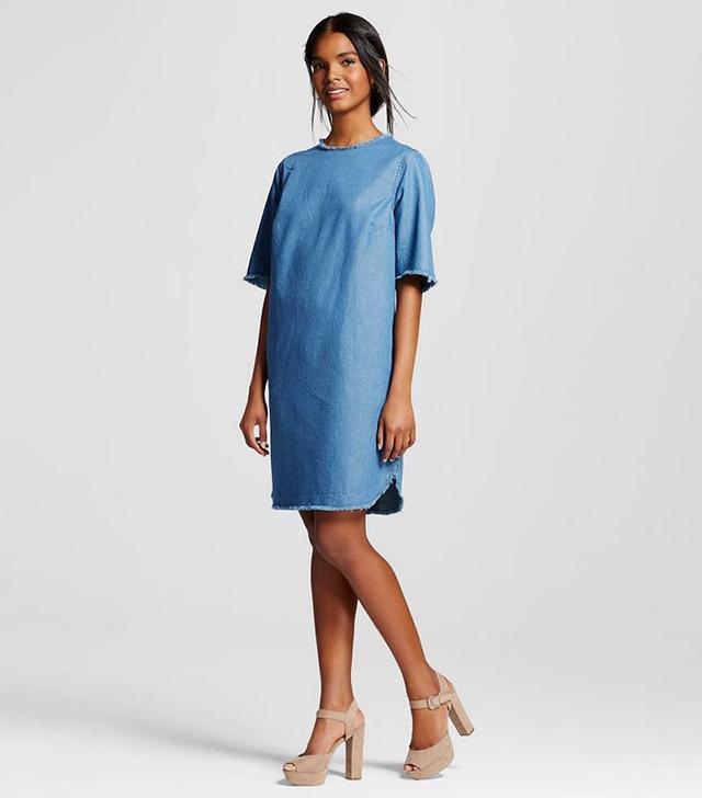 Who What Wear Frayed Denim Shift Dress