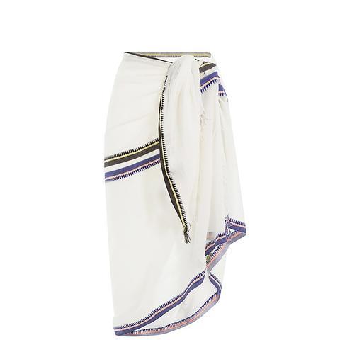 Cotton Wrap With Striped Trim