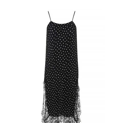 Spot Print Pleat Slip Dress