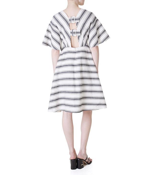 Tibi Ariel Stripe Cape Sleeve Dress