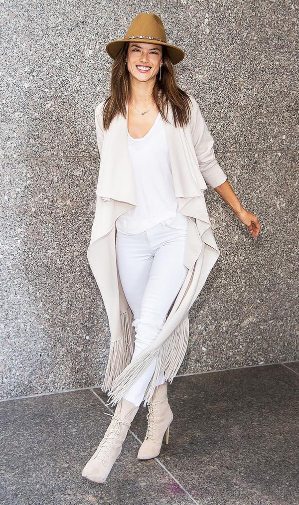 On Alessandra Ambrosio:Ale by Alessandra La Concha Felt Hat($65); ThePerfextBushwick Cashmere Sweater Coat($895); MotherLooker Ankle Fray Jeans ($188).